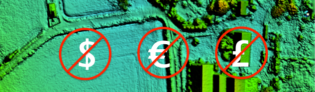 Image of elevation model data with dollar, euro and pound symbol crossed out