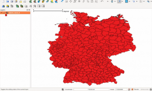 shape of local areas in Germany imported in QGIS