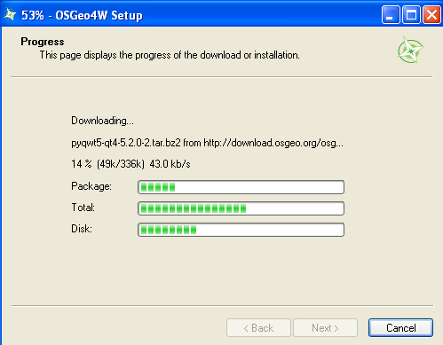 installation progress from QGIS