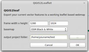 GUI qgis2leaf plugin