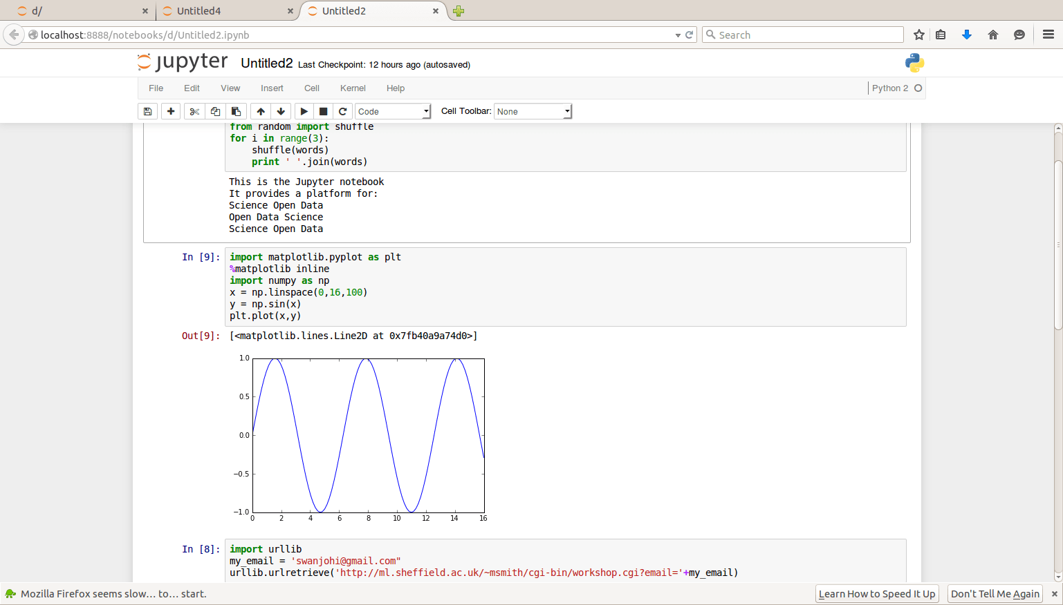 Writing codes in Jupyter