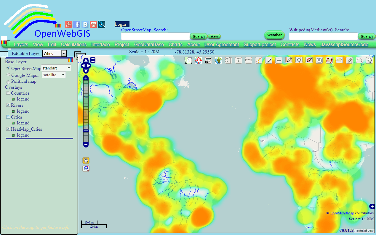 this article is a continuation of the article heatmap and interpolation it is easy in openwebgis about creation of heatmap and interpolation with the