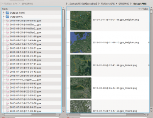 Corresponding gpx tracks and png maps
