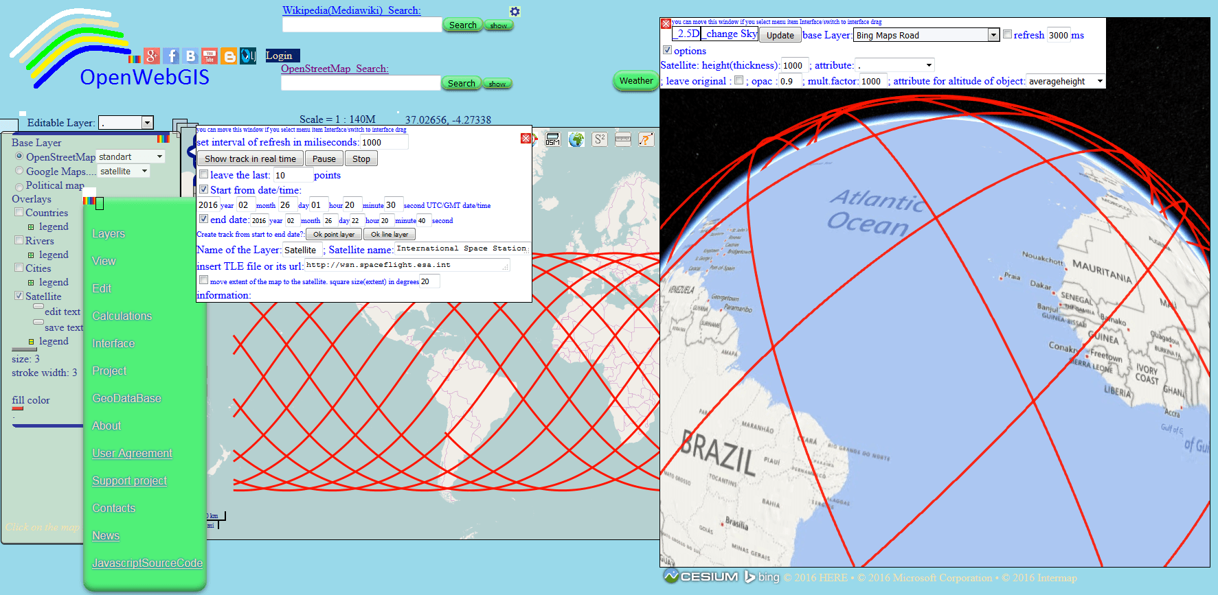 Figure 2 - 2D and 3D tracks of International Space Station from 2016-02-26T01:20:30 to 2016-02-26T22:20:40 (UTC/GMT date in a format according to ISO8601)