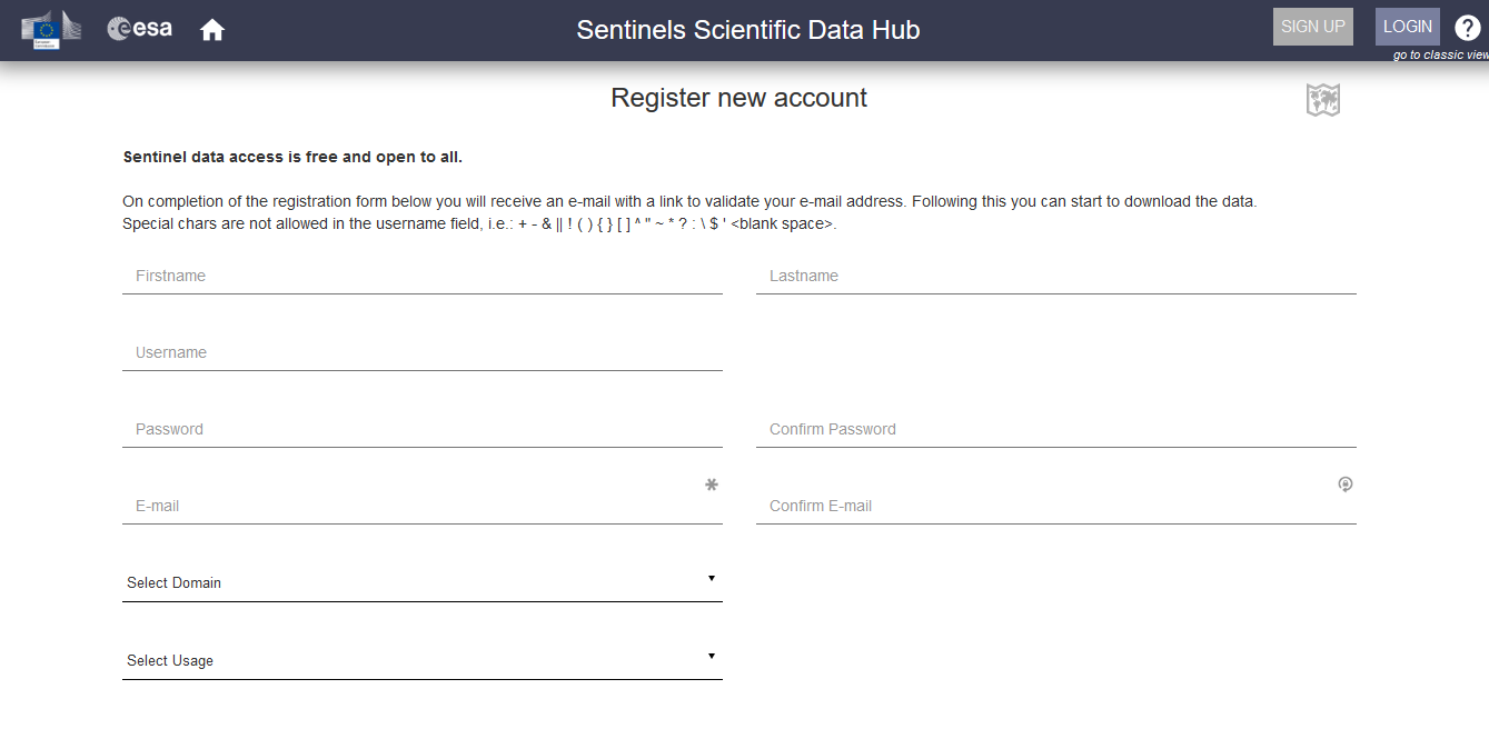 Automated registration for access to Sentinel data
