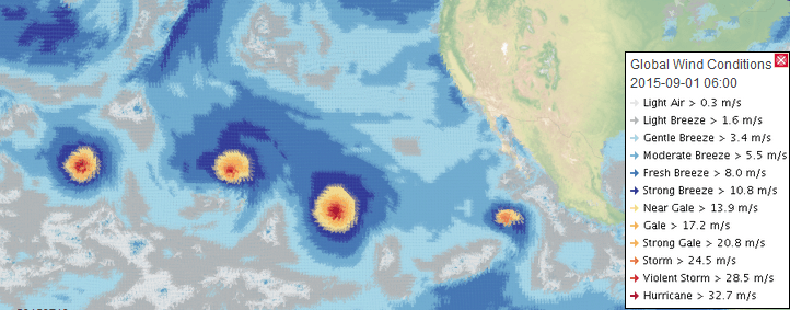 Three hurricanes in the Pacific