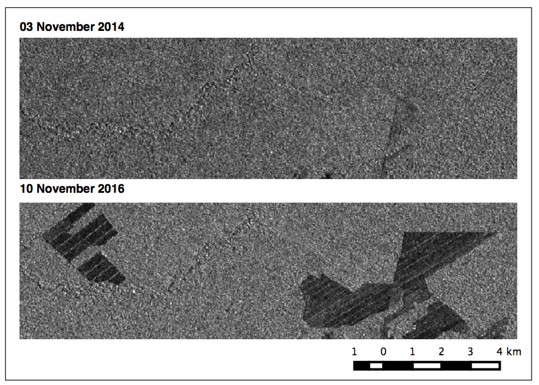 Bolivian deforestation due to sugarcane agriculture seen in Sentinel-1 imagery