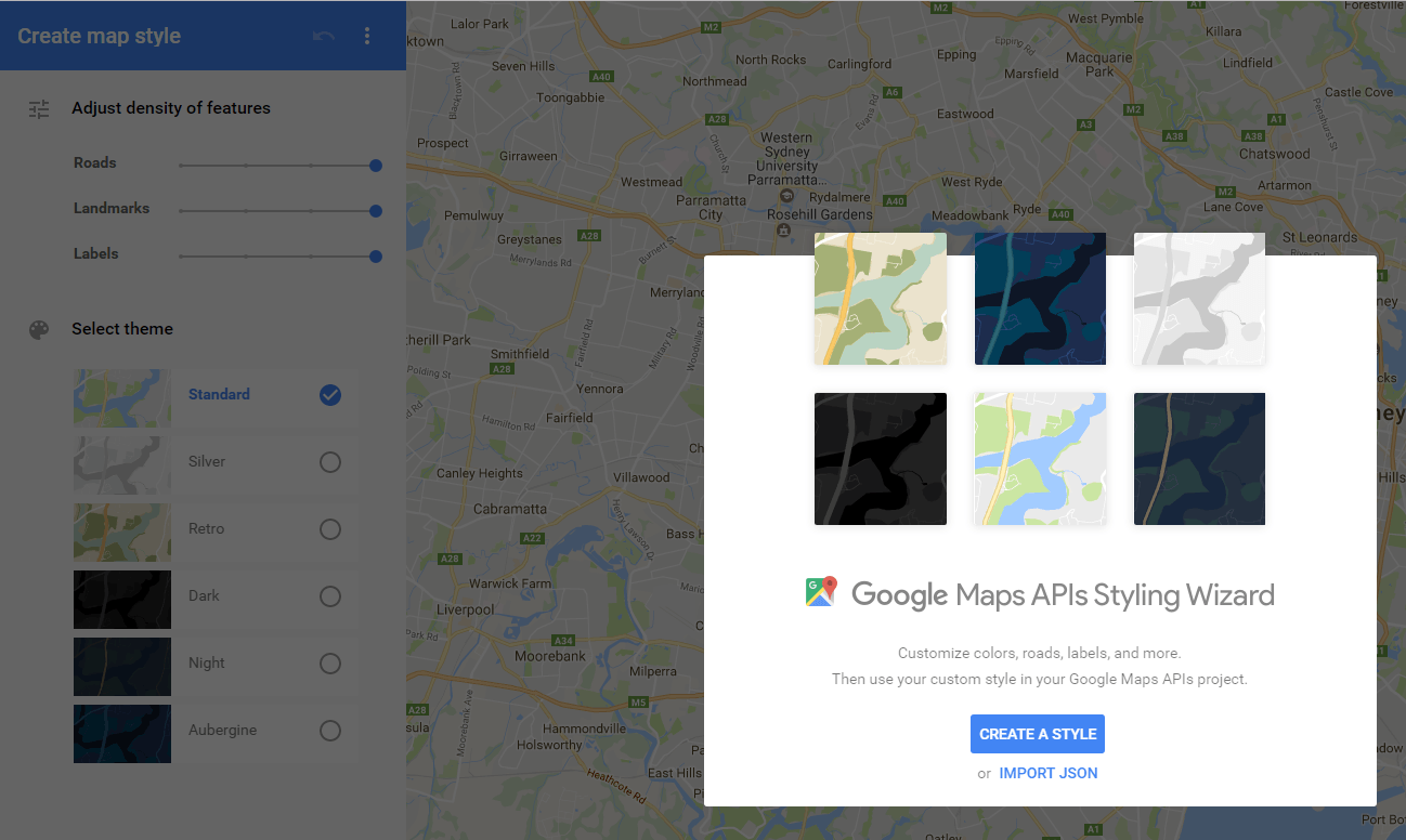 Mapstyle with Google Screenshot Digital Geography