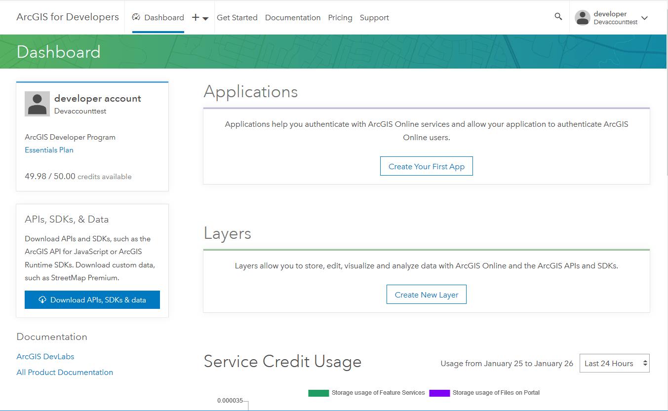 ArcGIS online AGOL Developer account